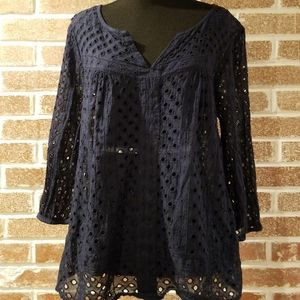 Lucky Brand Womens Boho Style Peasant Top